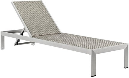 "Shore 76"" Outdoor Chaise Silver & Gray"