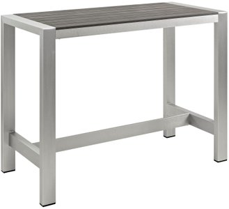 Shore Outdoor Rectangle Bar Table Silver & Gray