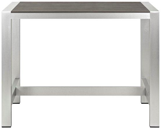Shore Outdoor Rectangle Bar Table Silver & Gray