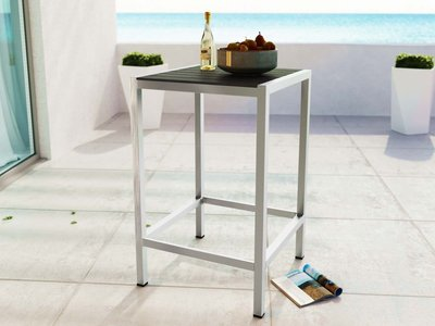 Shore Outdoor Bar Table Silver & Gray