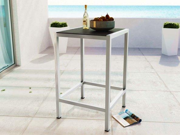 Shore Outdoor Bar Table Silver & Gray