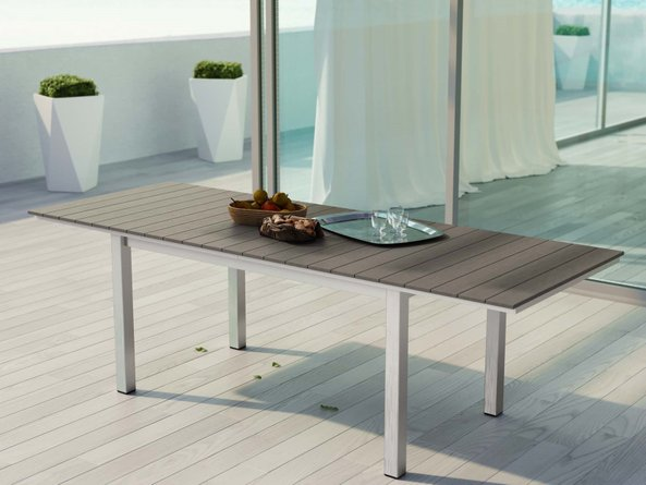 Shore Outdoor Extendable Dining Table Silver & Gray