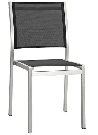 Shore Outdoor Side Chair Silver & Black