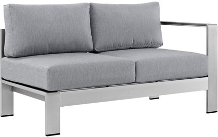 Shore Right-Arm Corner Sectional Outdoor Loveseat Gray & Silver