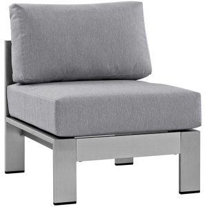 Shore Outdoor Armless Chair Silver & Gray