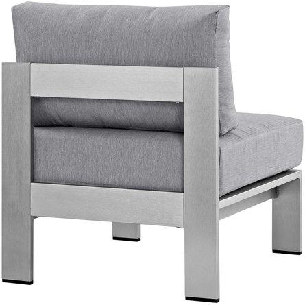 Shore Outdoor Armless Chair Silver & Gray