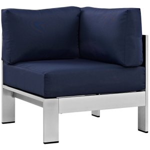 Shore Outdoor Corner Sofa Navy & Silver