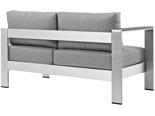 Shore Left-Arm Corner Sectional Outdoor Loveseat Gray & Silver
