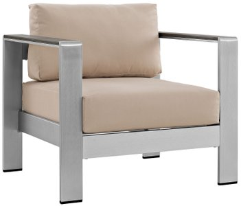 Shore Outdoor Armchair Beige & Silver