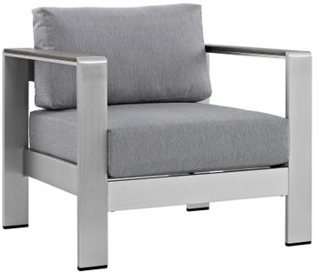 Shore Outdoor Armchair Gray & Silver