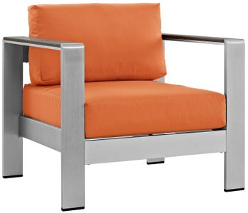 Shore Outdoor Armchair Orange & Silver