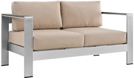 Shore Loveseat Silver & Beige
