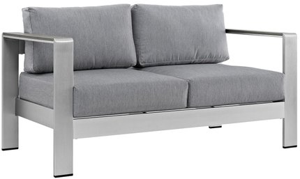 Shore Outdoor Loveseat Gray & Silver