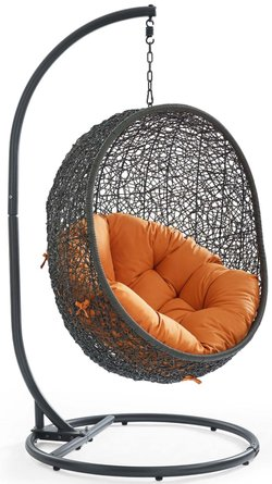 Hide Outdoor Swing Chair With Stand Gray & Orange