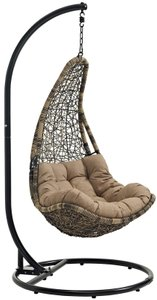 Abate Outdoor Swing Chair With Stand Black & Mocha