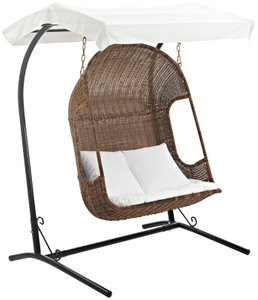 Vantage Outdoor Swing Chair With Stand Brown & White