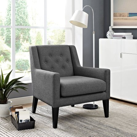 Earnest Upholstered Fabric Armchair Gray