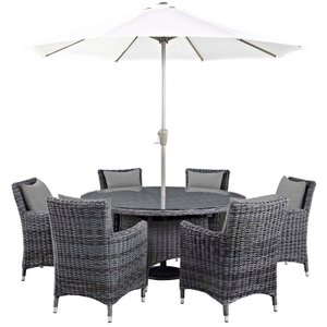 Summon Outdoor Sunbrella Dining Set for 6 Canvas Gray