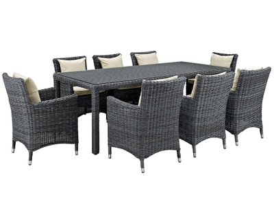 Summon Outdoor Dining Set for 8 Antique Canvas & Beige