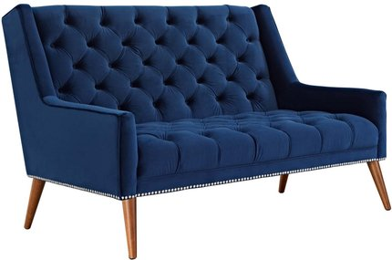 Peruse Performance Velvet Loveseat Navy