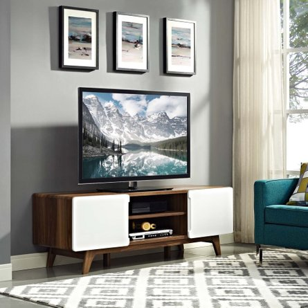 "Tread 59"" TV Stand Walnut And White"