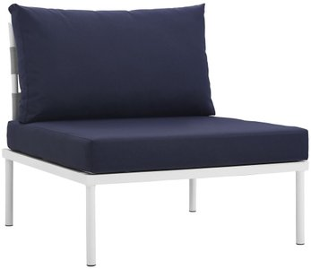Harmony Armless Outdoor Chair White & Navy