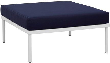 Harmony Outdoor Ottoman White & Navy