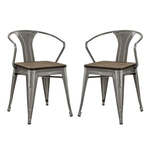 Promenade Dining Chair Gunmetal (Set of 2)