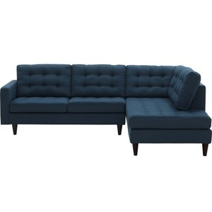 Empress Upholstered Fabric Right Extended Bumper Sectional Azure