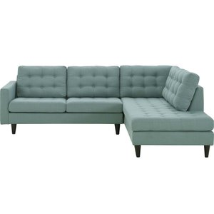Empress Upholstered Fabric Right Extended Bumper Sectional Laguna