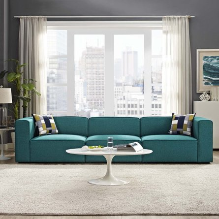 Mingle Upholstered Sectional Sofa Set Teal