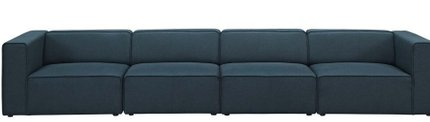 Mingle Upholstered Fabric Sectional Sofa Set Blue