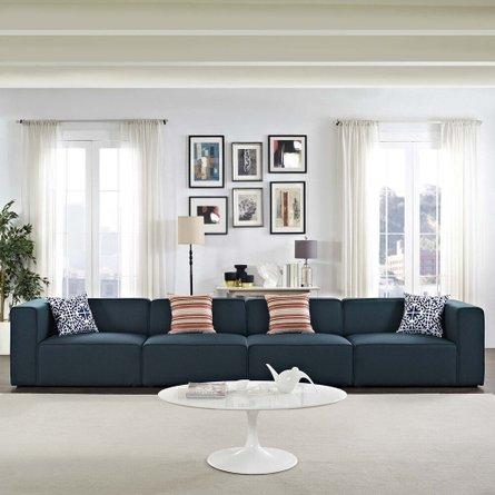 Mingle Upholstered Fabric Sectional Sofa Set Blue