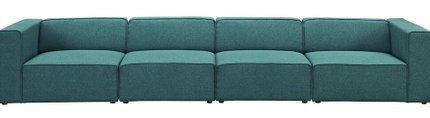 Mingle Upholstered Fabric Sectional Sofa Set Teal