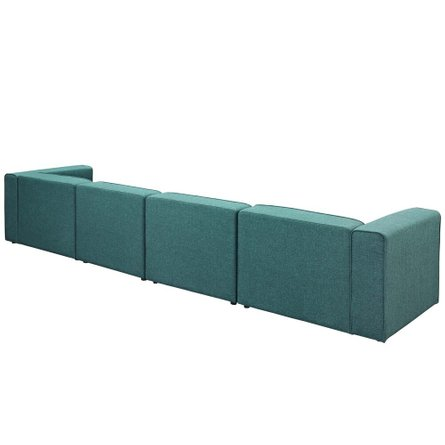 Mingle Upholstered Fabric Sectional Sofa Set Teal