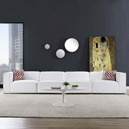 Mingle Upholstered Fabric Sectional Sofa Set White