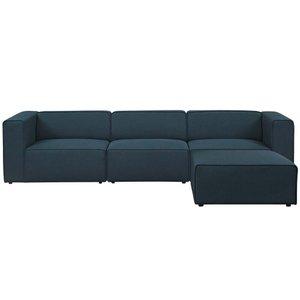 Mingle Upholstered Fabric Sectional Sofa Blue
