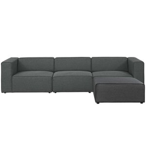 Mingle Upholstered Fabric Sectional Sofa Gray
