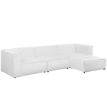 Mingle Upholstered Fabric Sectional Sofa White