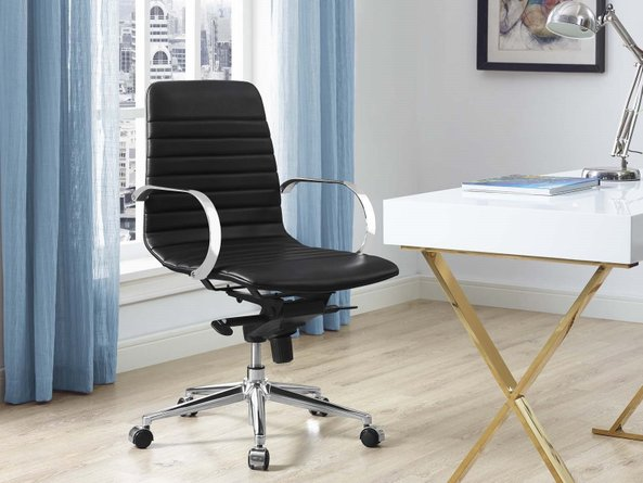 Groove Ribbed Back Office Chair Black