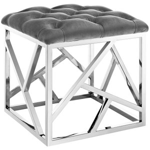 Intersperse Ottoman Silver & Gray