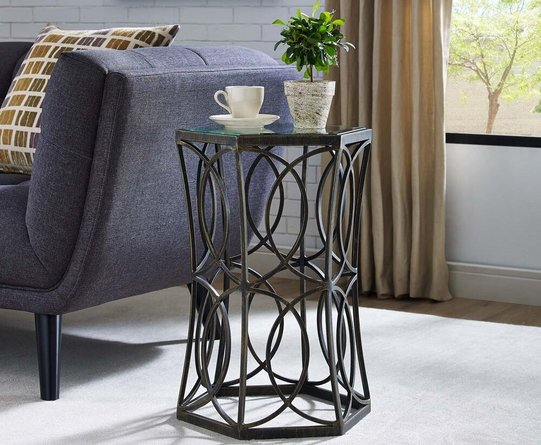"""Circle 19.5"""" Side Table Antique Gold"""