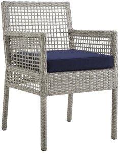 Aura Outdoor Dining Armchair Gray & Navy