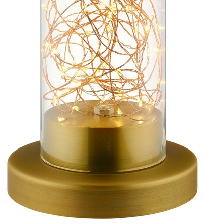 Adore Cylindrical-Shaped Table Lamp Clear Glass And Brass