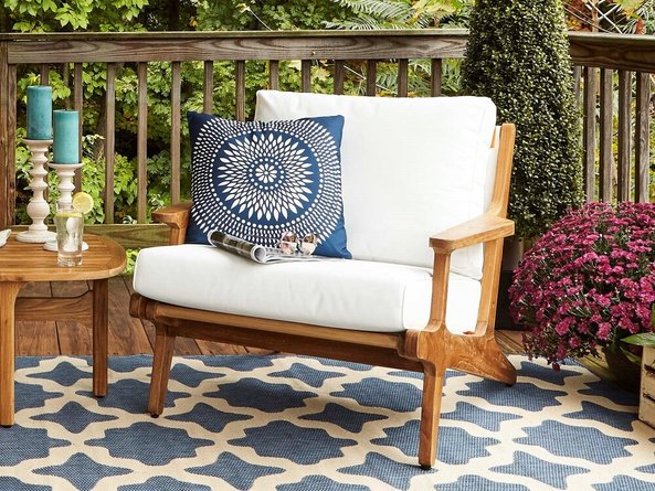 Saratoga Outdoor Armchair Natural & White