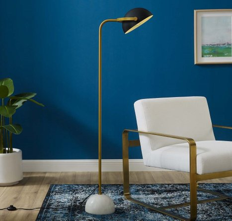 Convey Marble Floor Lamp Bronze And White