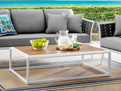 Stance Rectangular Coffee Table White & Natural