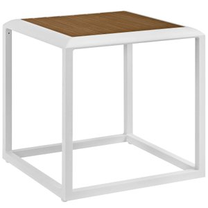 Stance Square Side Table White & Natural