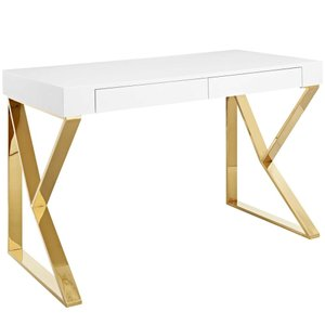 Adjacent Desk White And Gold
