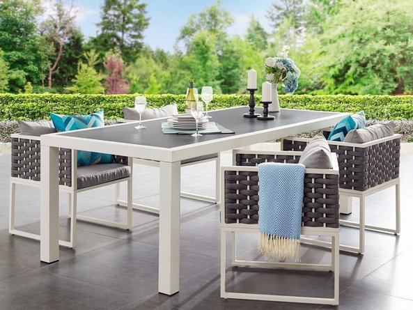 """Stance 90.5"""" Outdoor Dining Table White & Gray"""